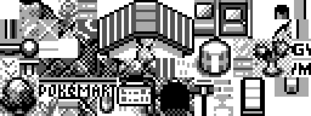 A picture of the overworld tileset from Pokémon Red and Blue