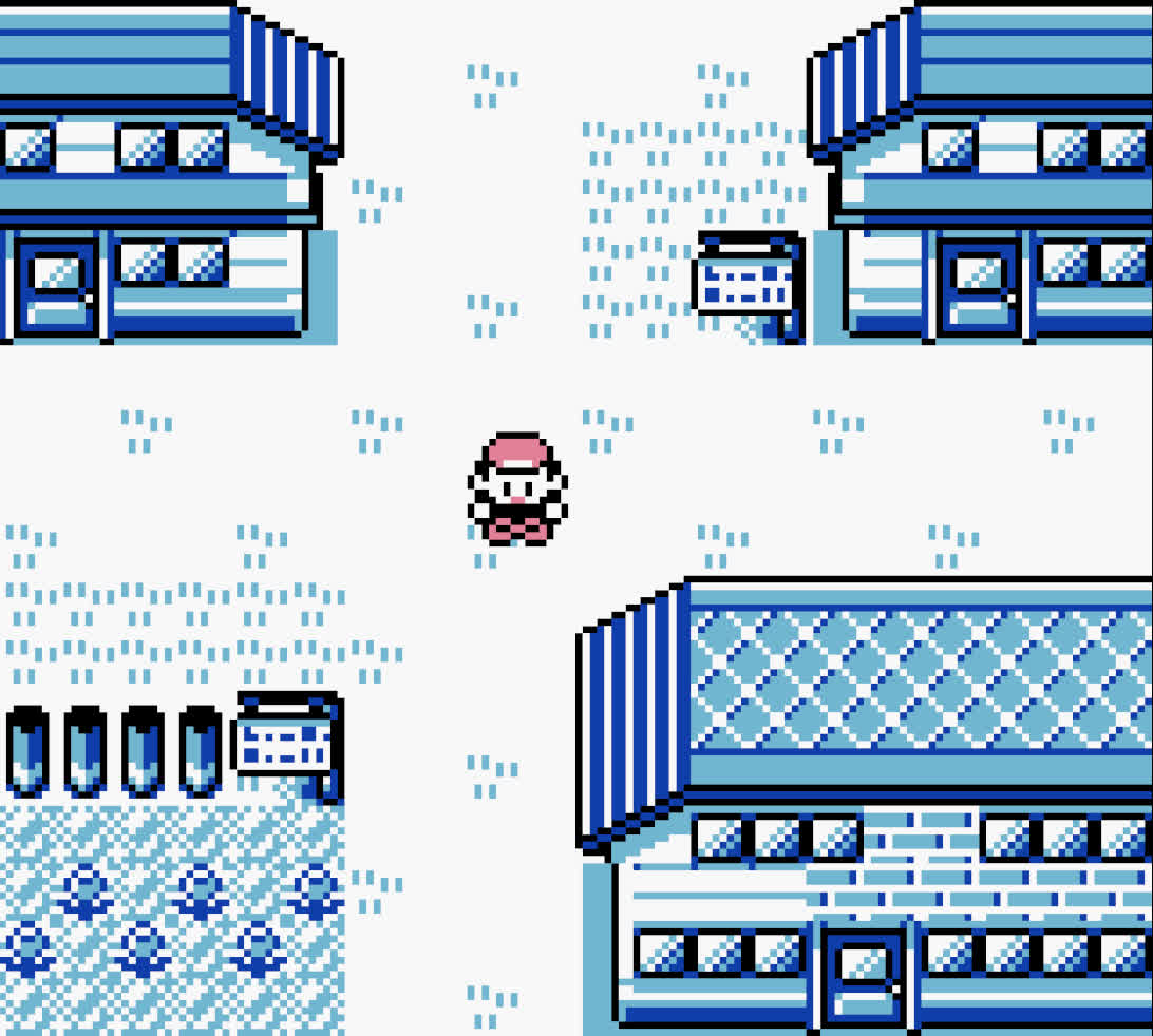 A screenshot of the player character in Pallet Town